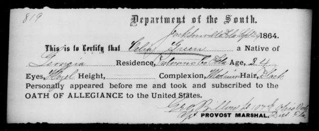 Green, Celia - State: Florida - Year: 1864