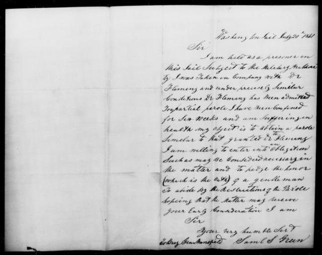 Green, Saml S - State: Washington - Year: 1861