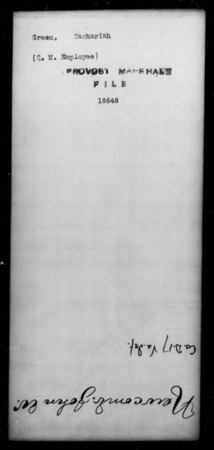 Green, Zachariah - State: [Blank] - Year: [Blank]
