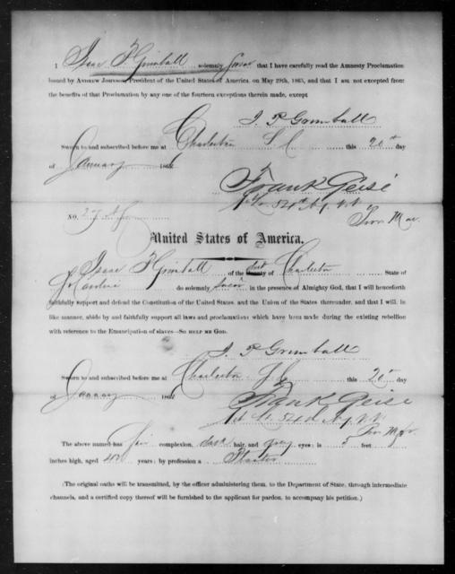 Grimes, Isaac P - State: South Carolina - Year: 1865