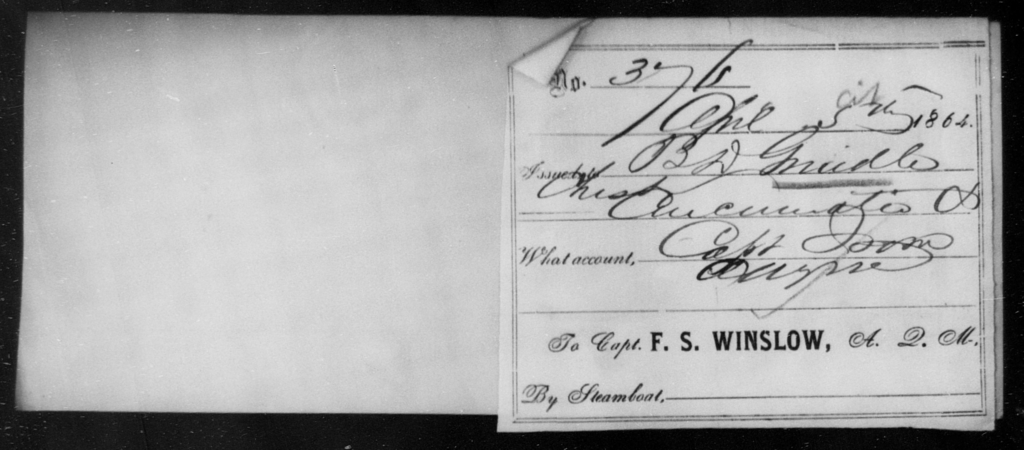 Grindle, B D - State: [Blank] - Year: 1864