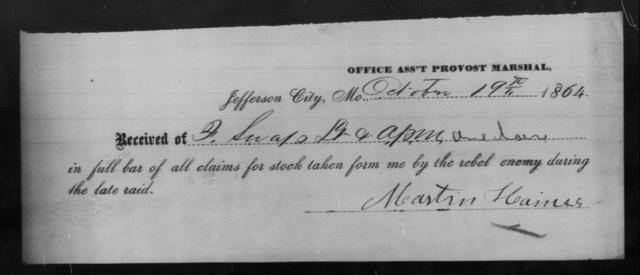 Haines, Martin - State: Missouri - Year: 1864