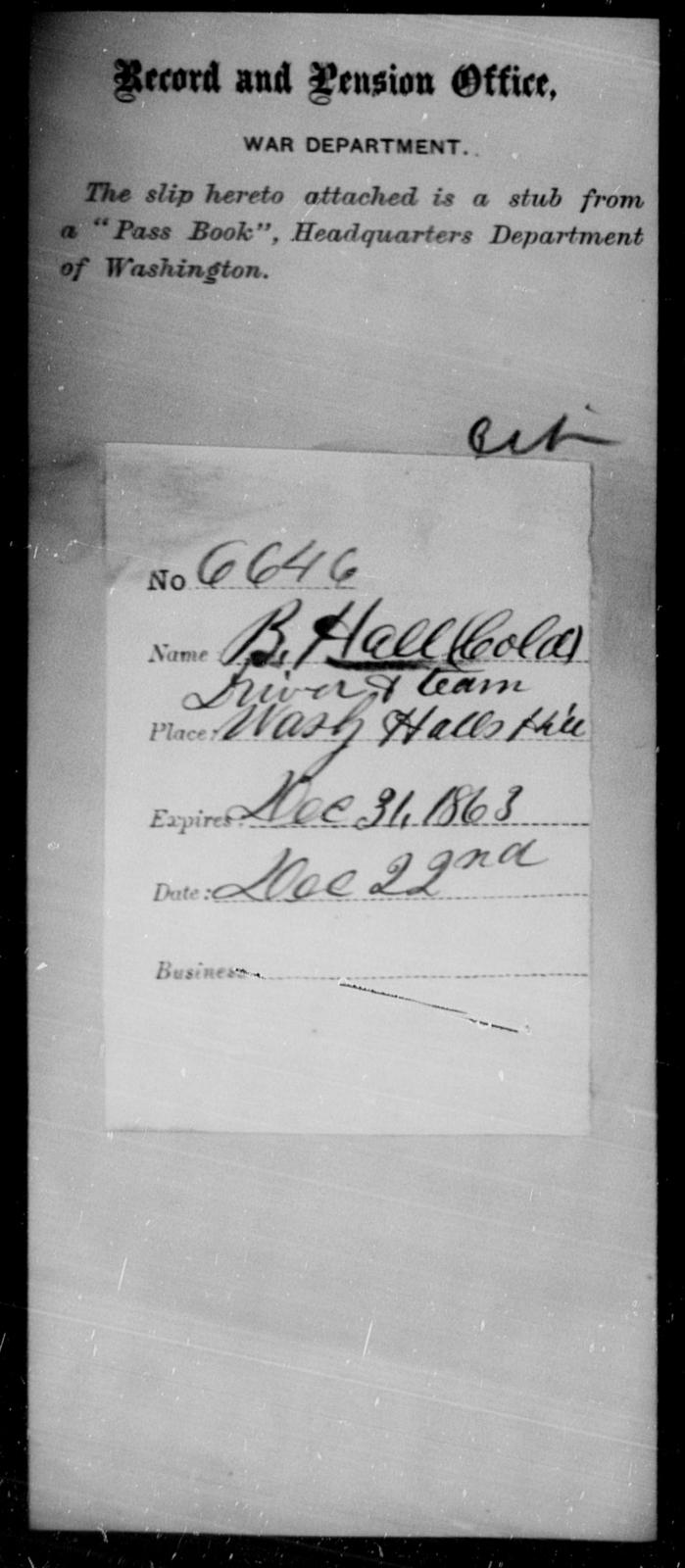 Hall, B - State: Washington - Year: 1863