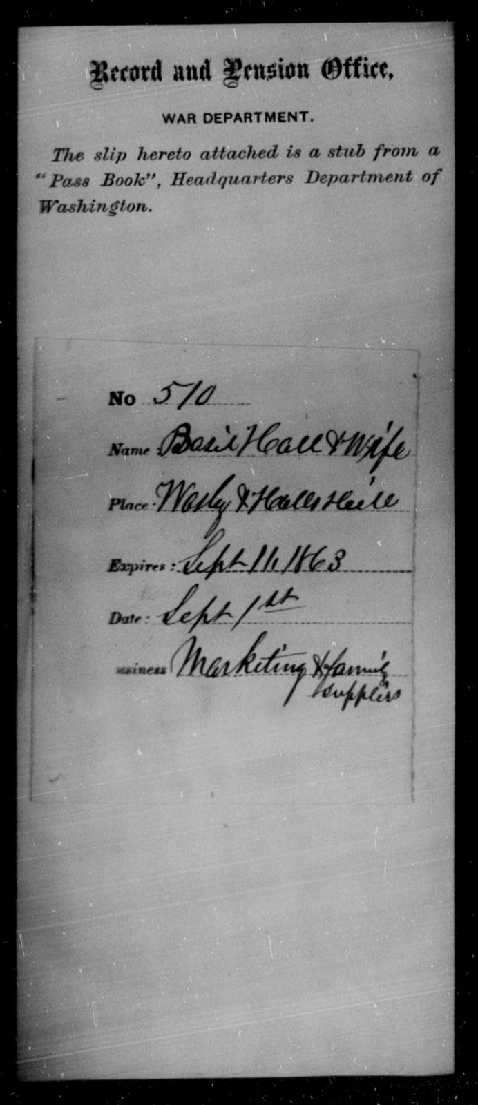 Hall, Balie - State: Washington - Year: 1863
