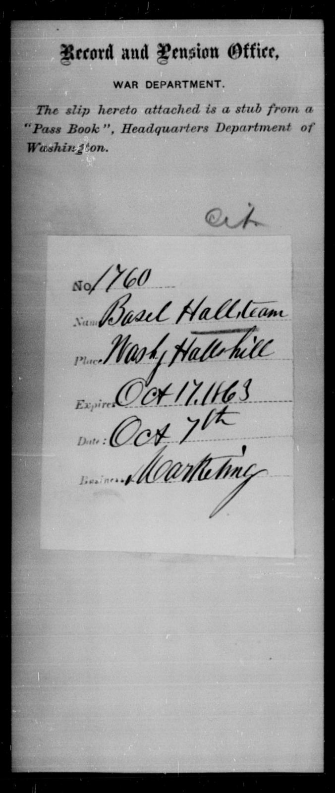 Hall, Basel - State: Washington - Year: 1863