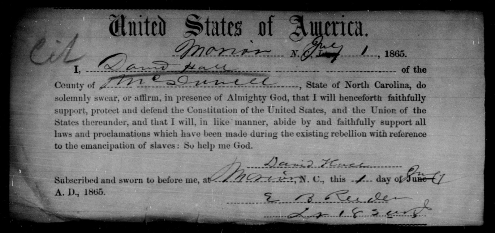 Hall, David - State: North Carolina - Year: 1865