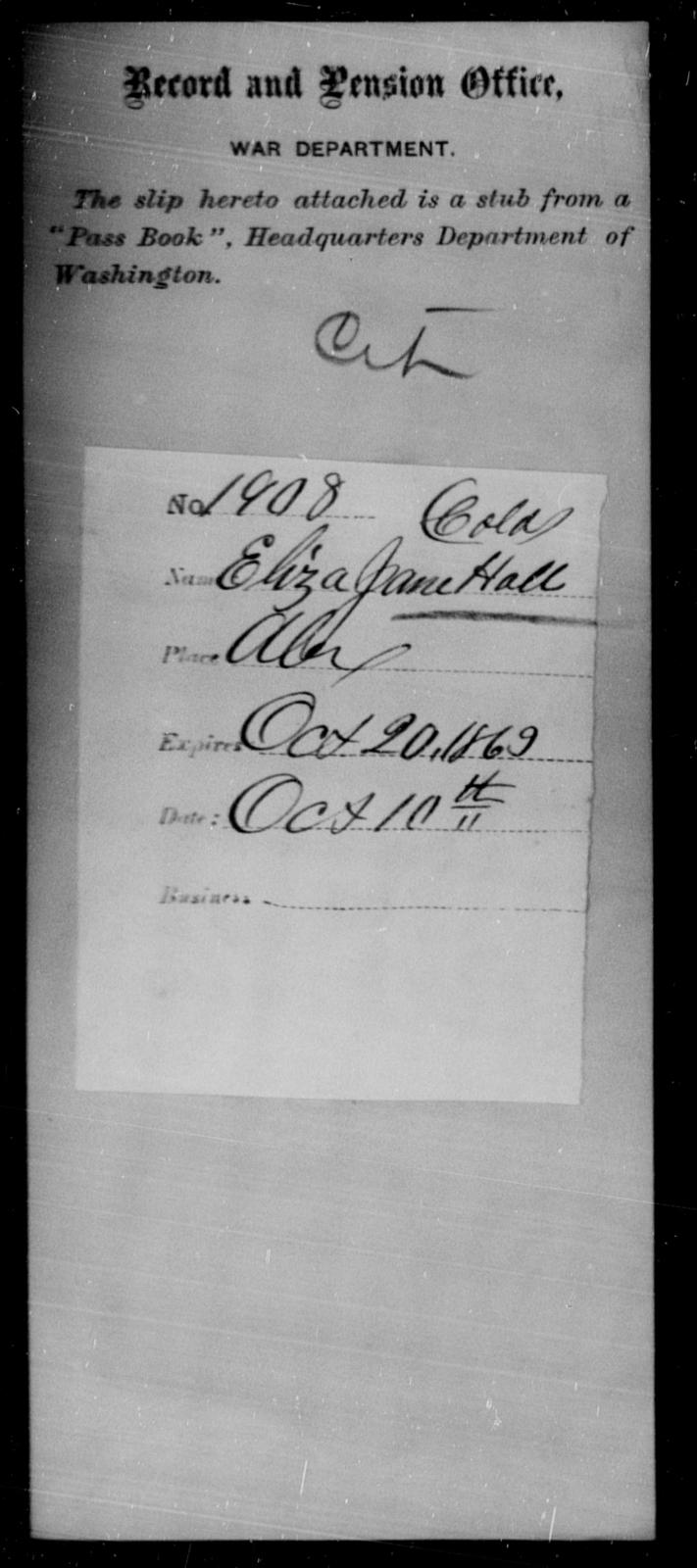 Hall, Eliza Jane - State: Washington - Year: 1863