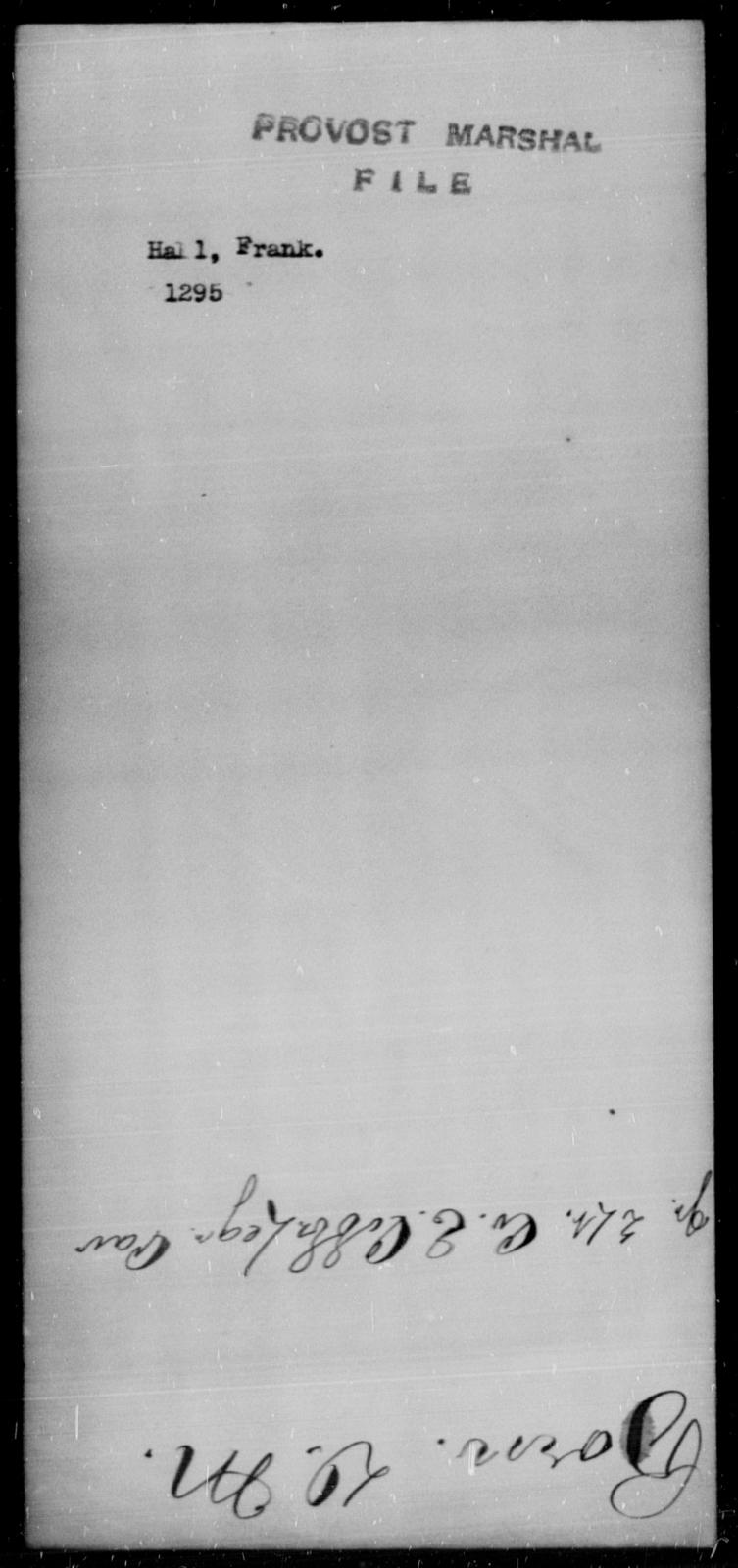 Hall, Frank - State: [Blank] - Year: [Blank]