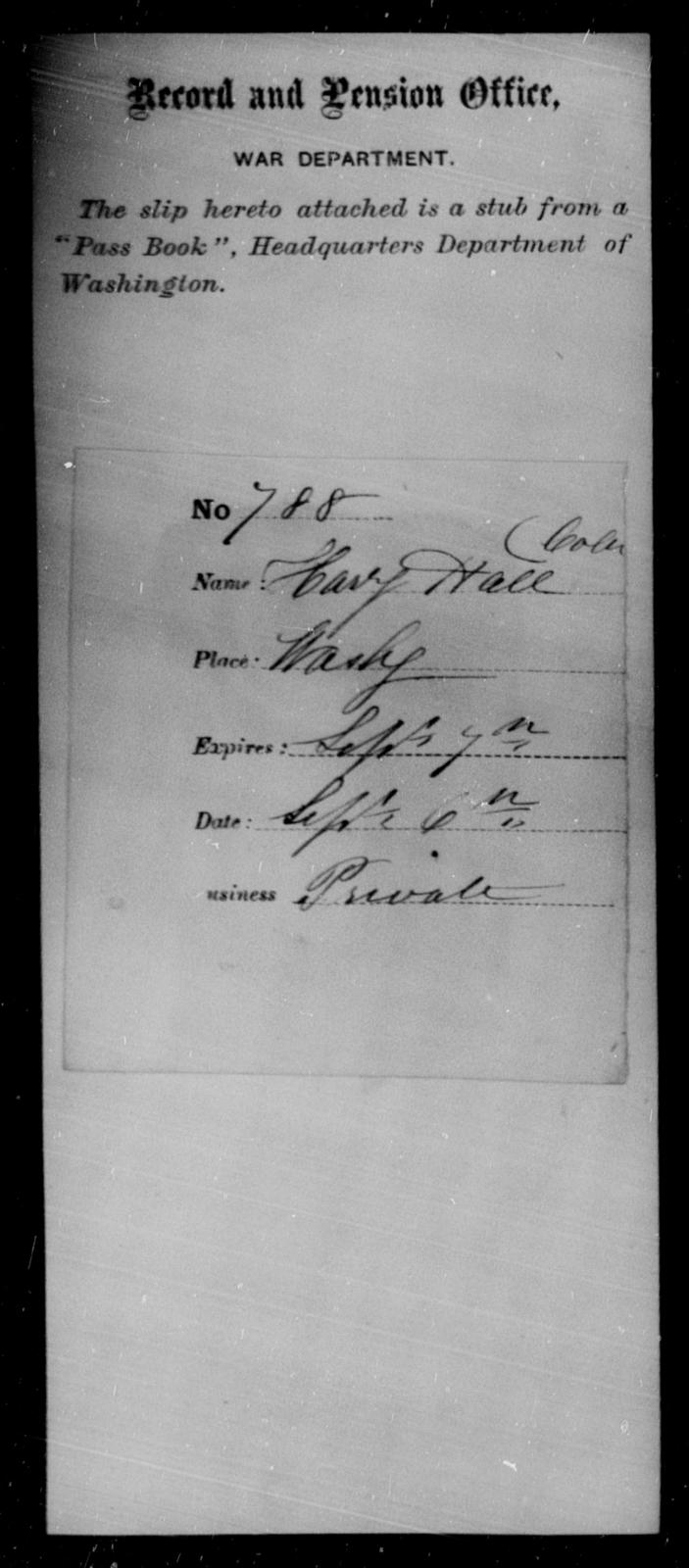Hall, Hanry - State: Washington - Year: 1863