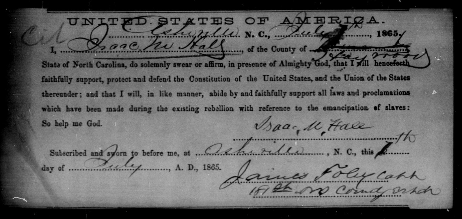 Hall, Isaac M - State: North Carolina - Year: 1865