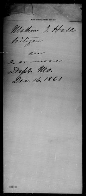 Hall, Mathew J - State: [Blank] - Year: 1861