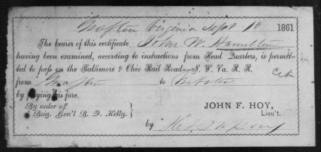 Hamilton, John W - State: Virginia - Year: 1861