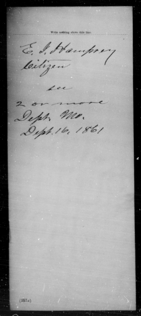 Hampery, E J - State: Missouri - Year: 1861