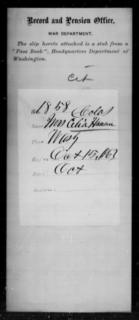 Hansen, Celia - State: Washington - Year: 1863