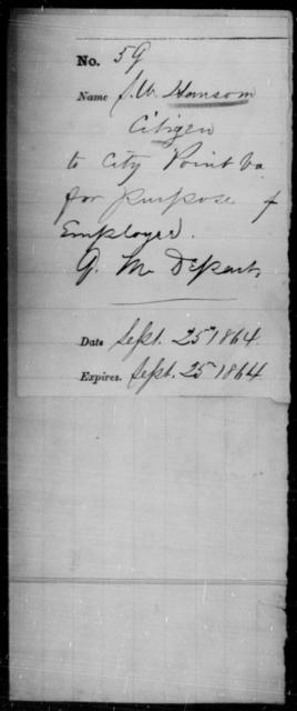 Hansom, S W - State: Virginia - Year: 1864