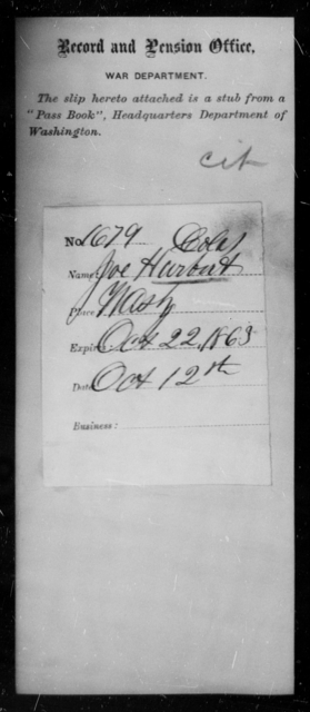 Harbert, Joe - State: Washington - Year: 1863