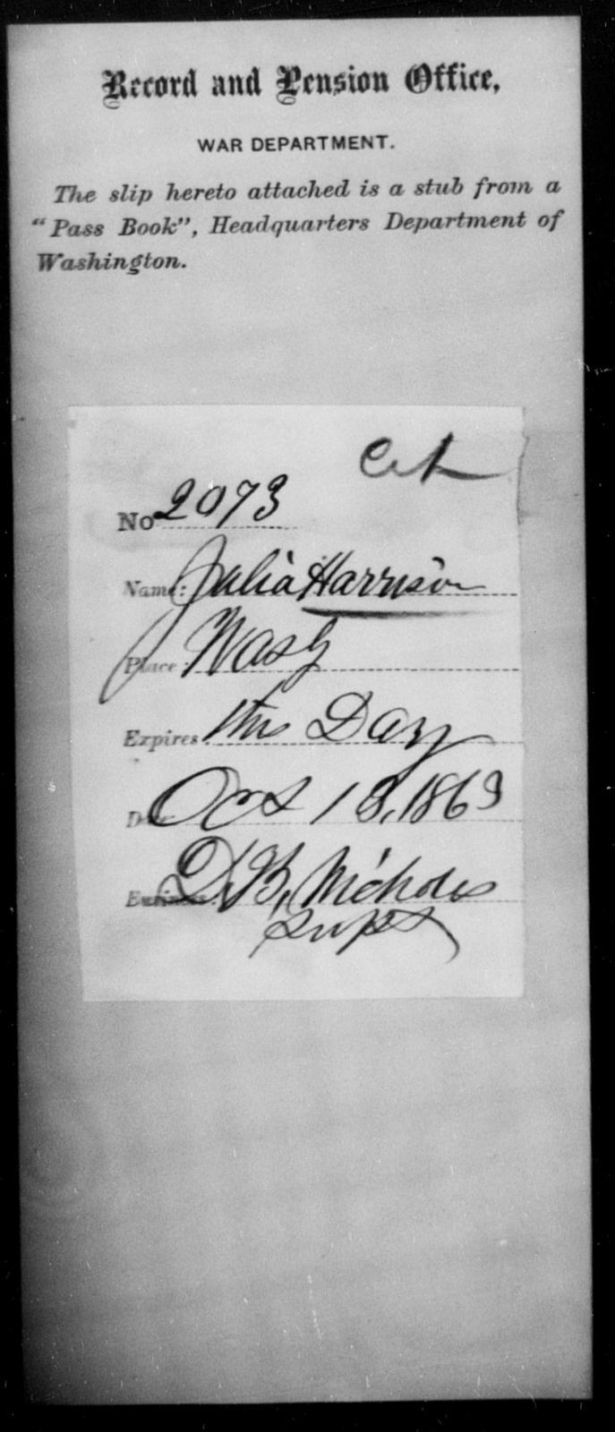 Harrison, Julia - State: Washington - Year: 1863