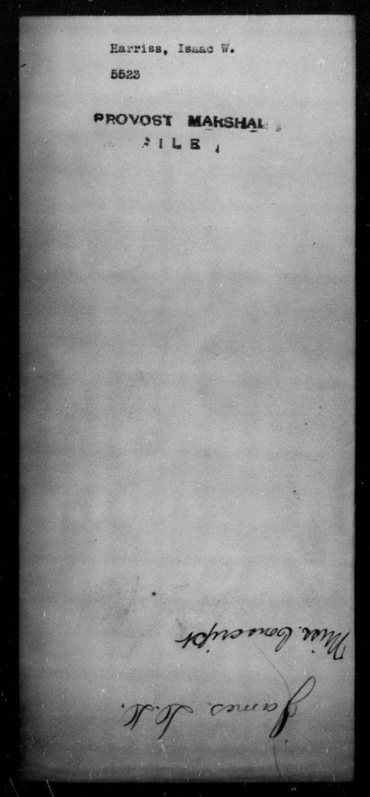 Harriss, Isaac W - State: [Blank] - Year: [Blank]