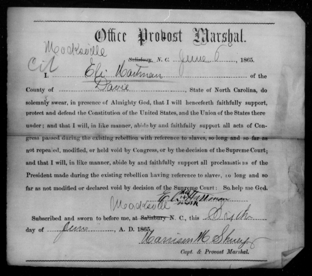 Hartman, Eli - State: North Carolina - Year: 1865