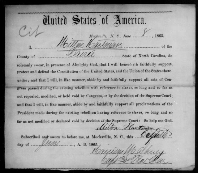 Hartman, Milton - State: North Carolina - Year: 1865