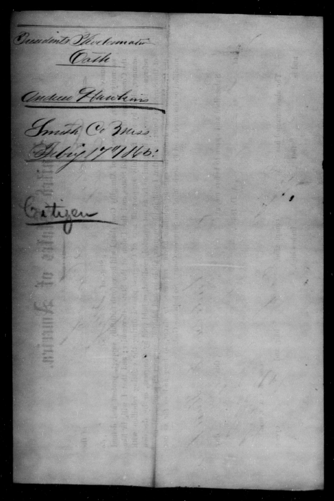 Hawkins, Andrew - State: Mississippi - Year: 1865