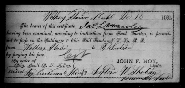 Hawley, Jas L - State: Ohio - Year: 1861
