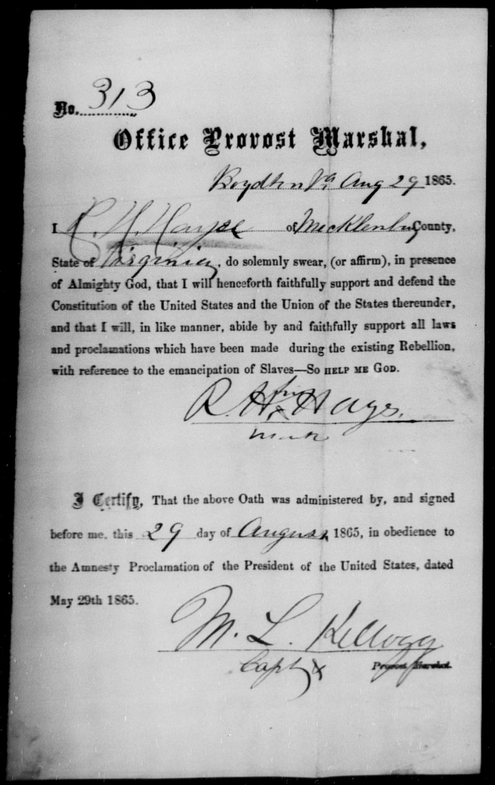Hays, R H - State: Virginia - Year: 1865