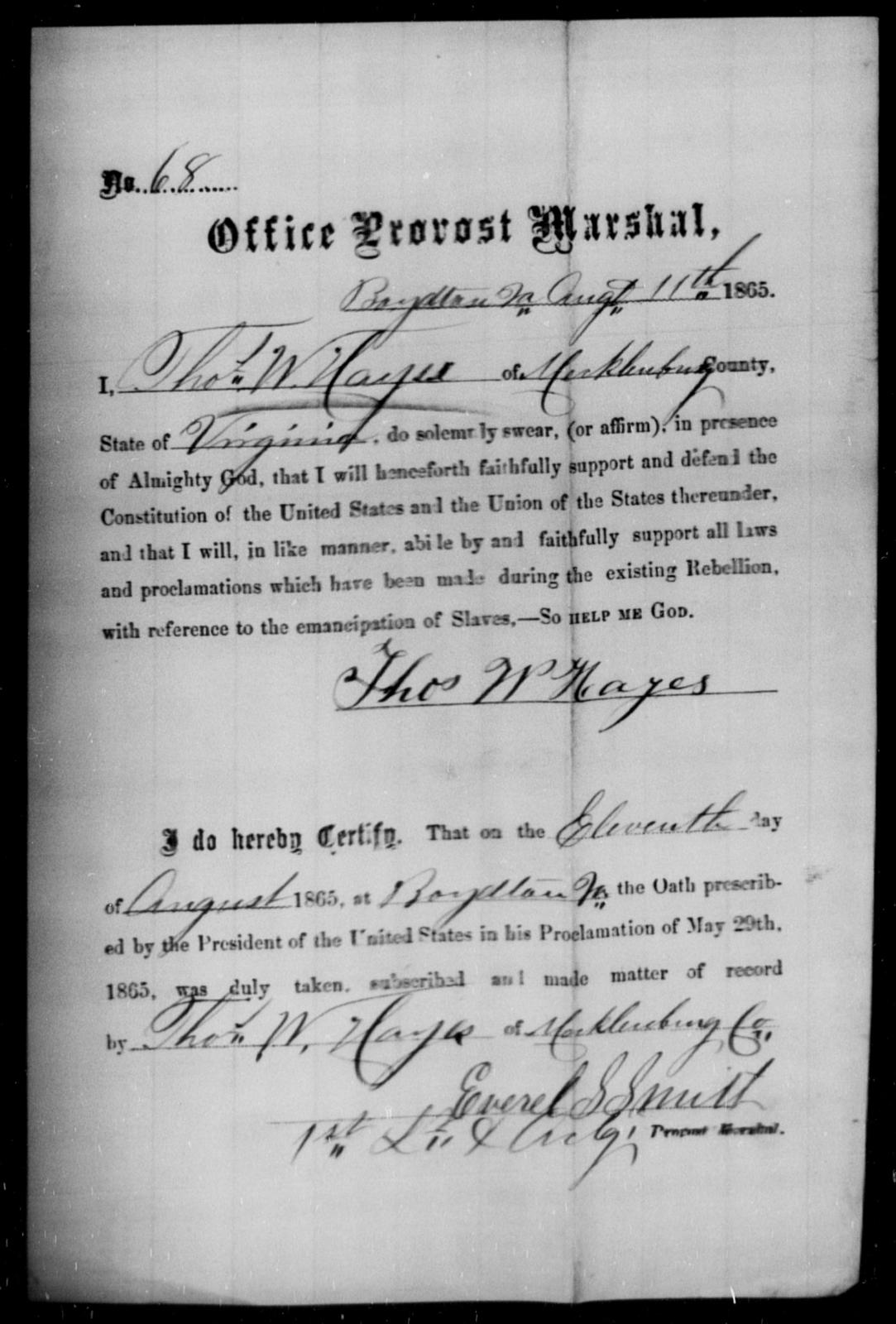 Hays, Thos W - State: Virginia - Year: 1865