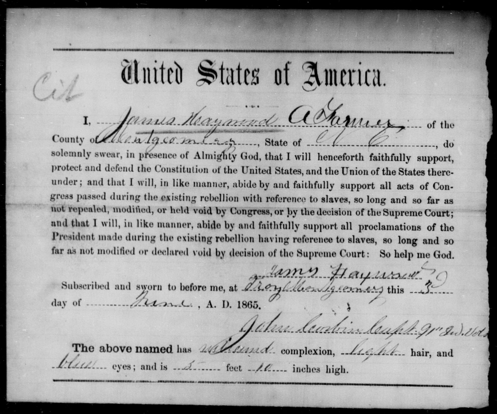 Haywood, James - State: North Carolina - Year: 1865