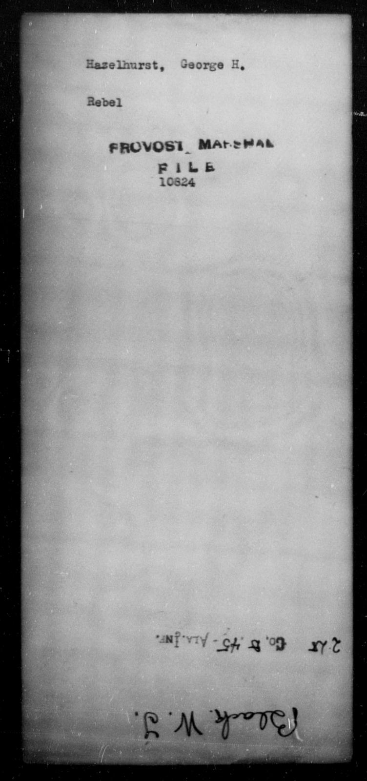 Hazelhurst, George H - State: [Blank] - Year: [Blank]