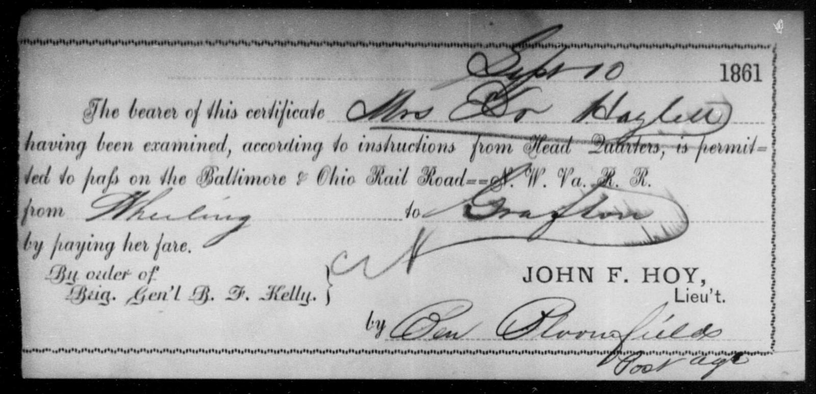 Hazlett, [Blank] - State: Ohio - Year: 1861