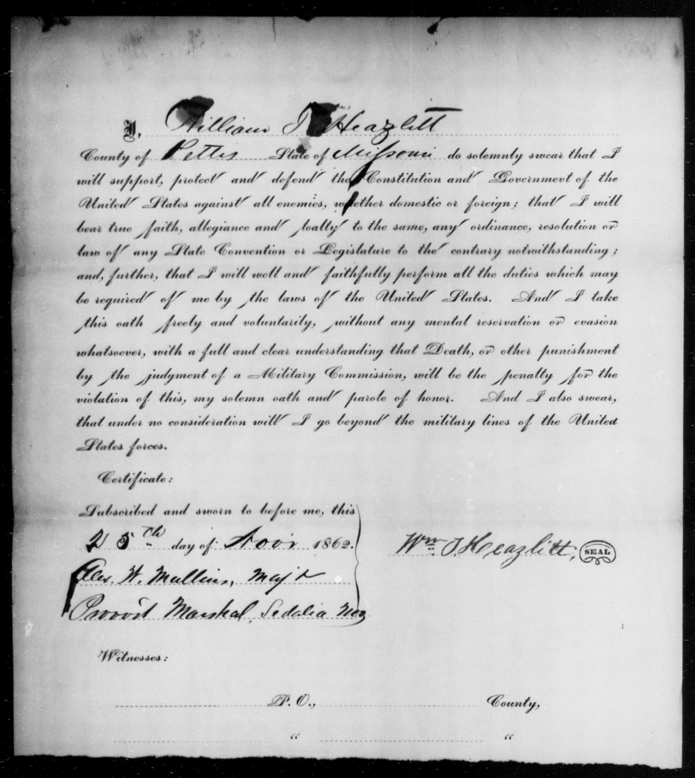 Hazlett, William J - State: Missouri - Year: 1862
