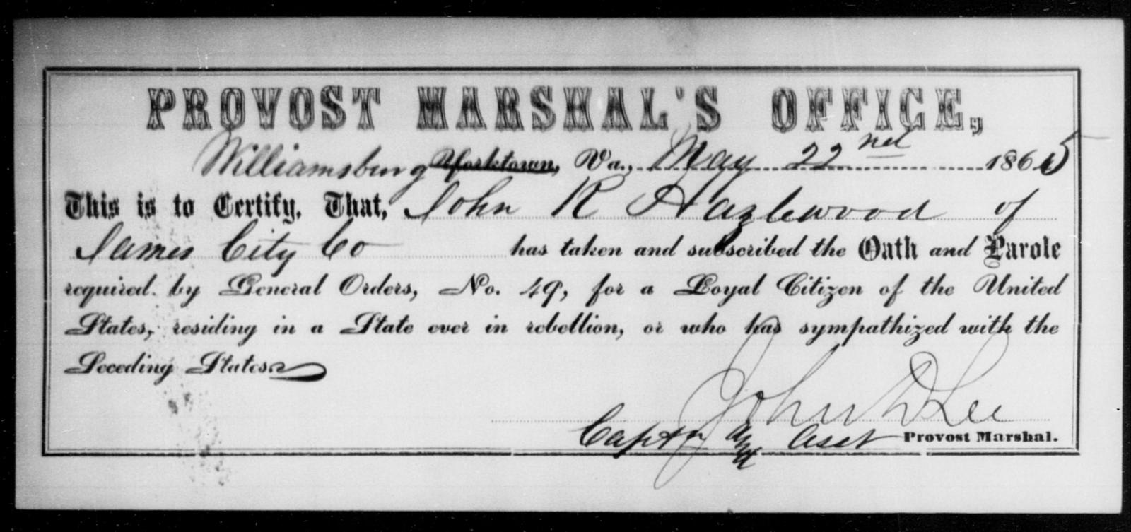 Hazlewood, John R - State: Virginia - Year: 1865