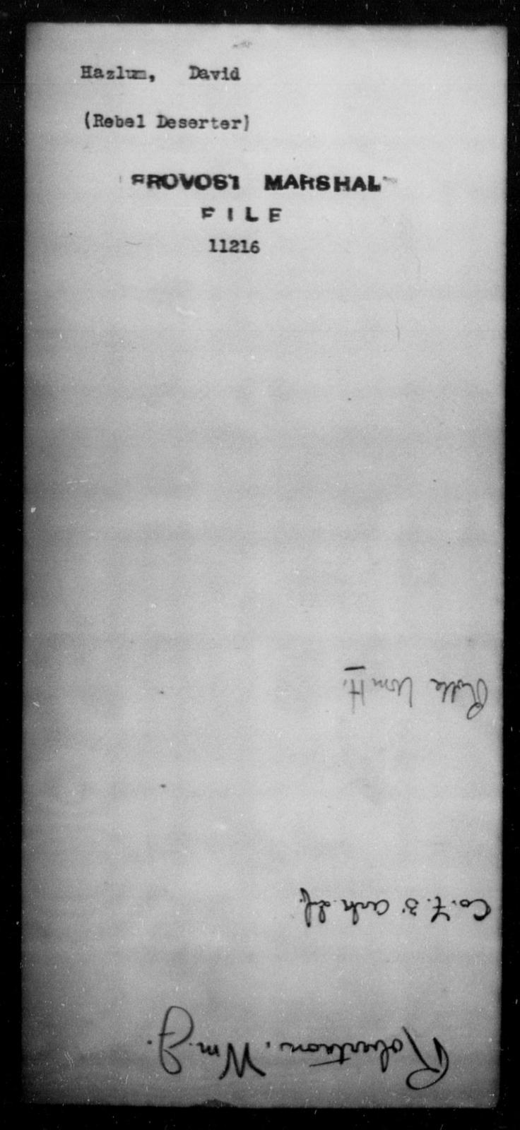 Hazlum, David - State: [Blank] - Year: [Blank]