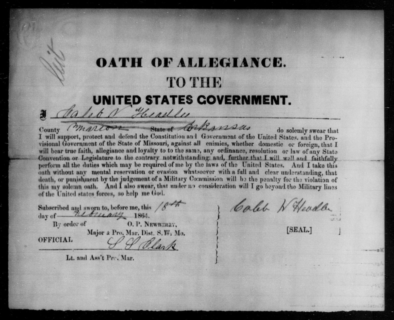 Headlee, Caleb N - State: Arkansas - Year: 1864