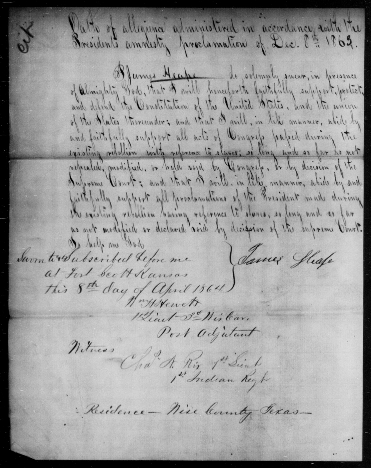 Heape, James - State: Kansas - Year: 1863