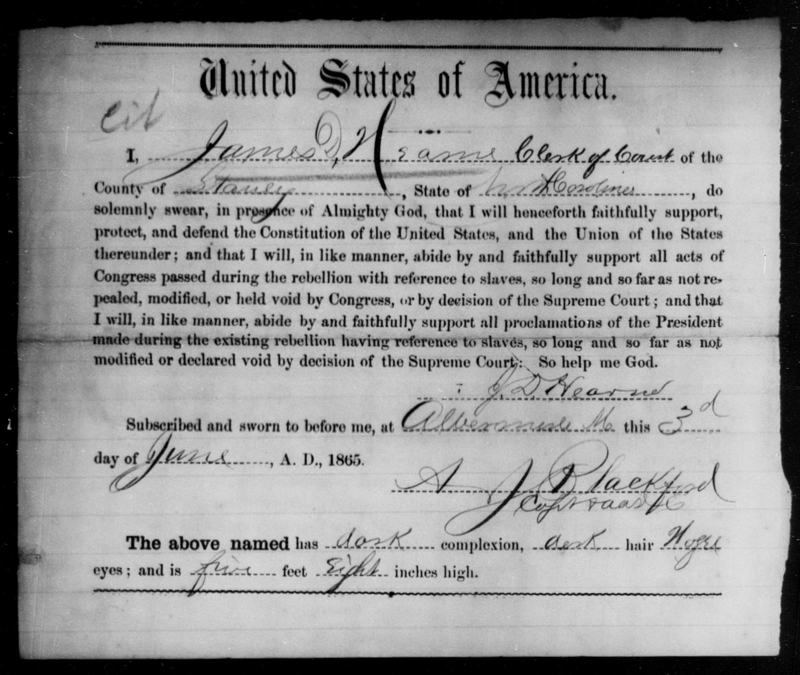 Hearn, James D - State: North Carolina - Year: 1865