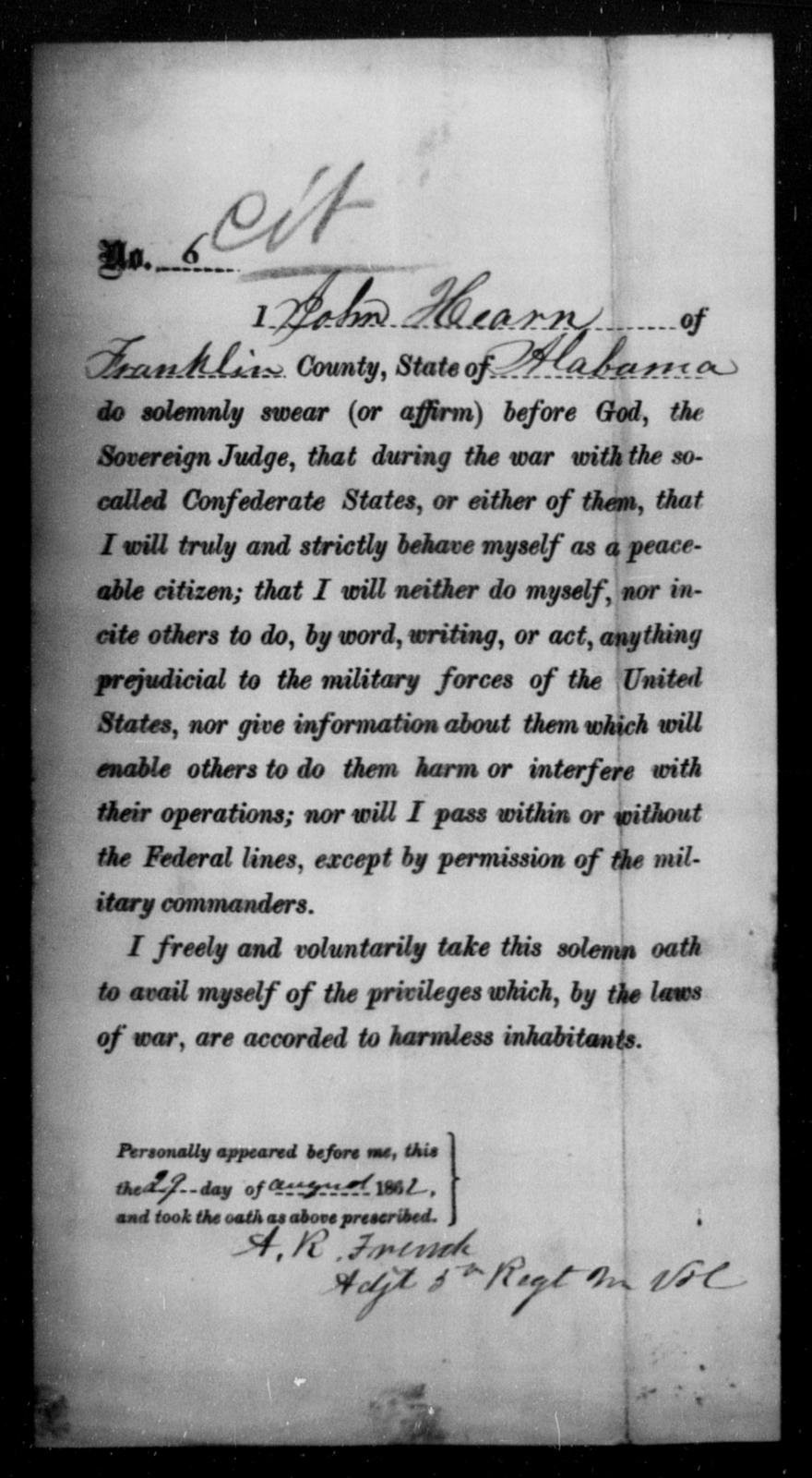 Hearn, John - State: Alabama - Year: 1862