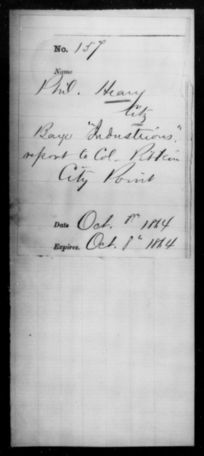 Heary, Phil - State: [Blank] - Year: 1864