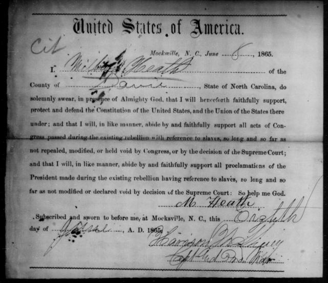 Heath, Milbert - State: North Carolina - Year: 1865