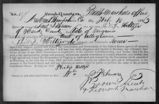 Heltzer, Phillip - State: Virginia - Year: 1863