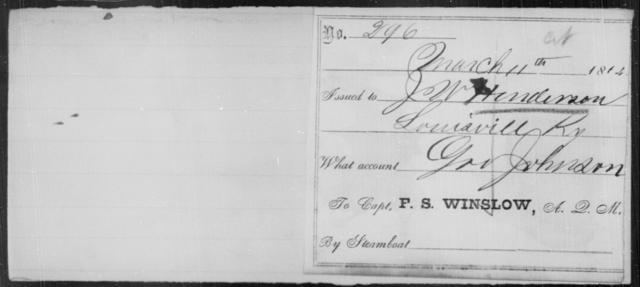 Henderson, J W - State: Kentucky - Year: 1864