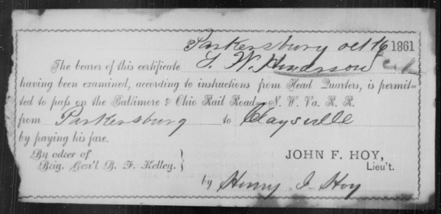 Henderson, J W - State: Ohio - Year: 1861