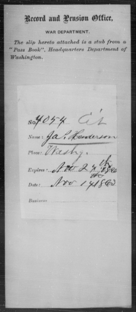 Henderson, Jas - State: Washington - Year: 1863