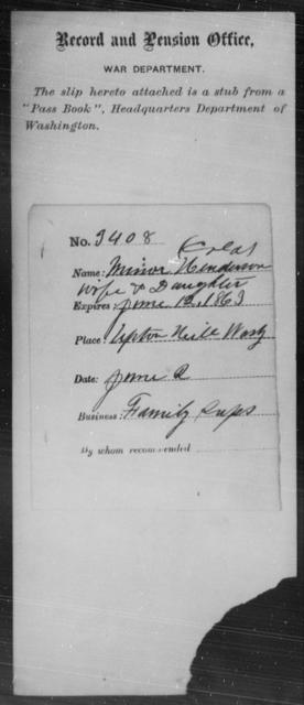 Henderson, Minor - State: Washington - Year: 1863