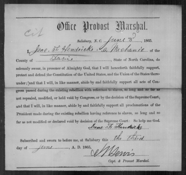 Hendricks, Isaac F - State: North Carolina - Year: 1865