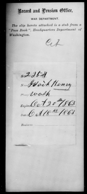 Henry, Isaih - State: Washington - Year: 1863