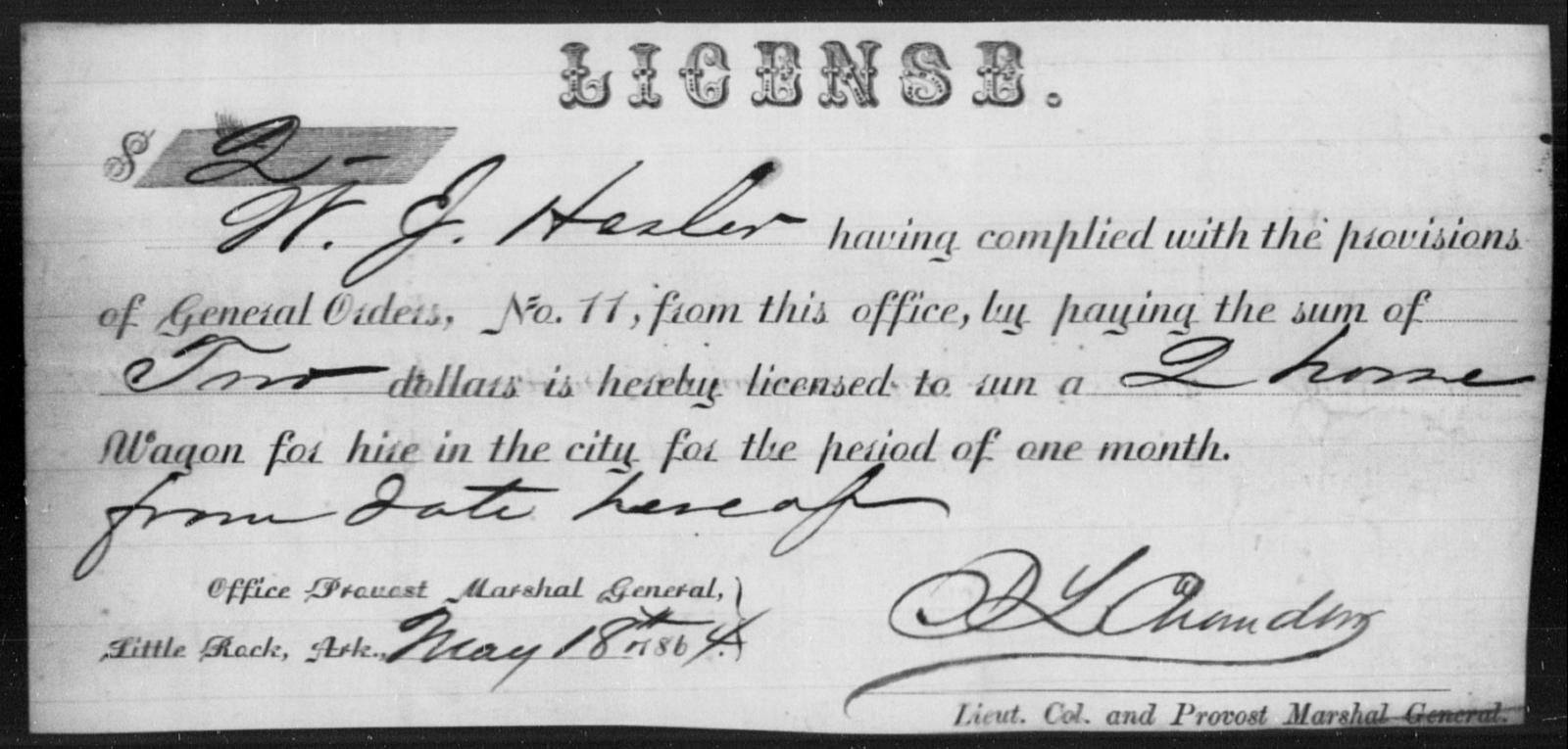 Hesler, W J - State: Arkansas - Year: 1864