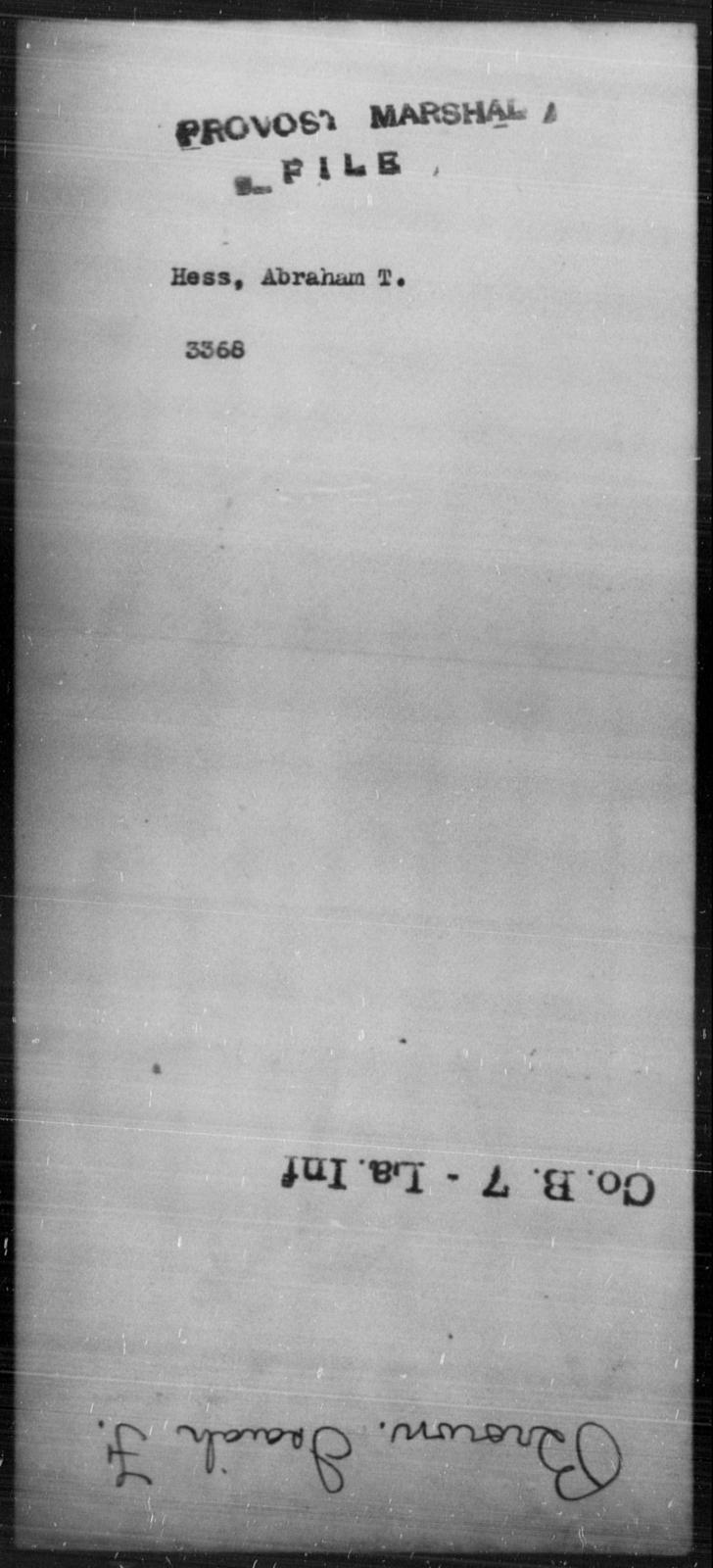 Hess, Abraham T - State: [Blank] - Year: [Blank]