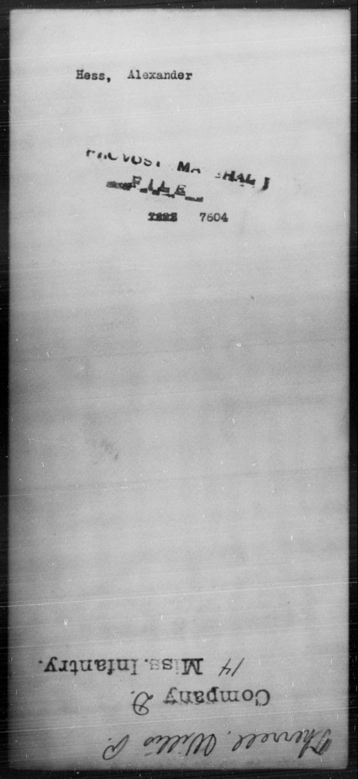 Hess, Alexander - State: [Blank] - Year: [Blank]